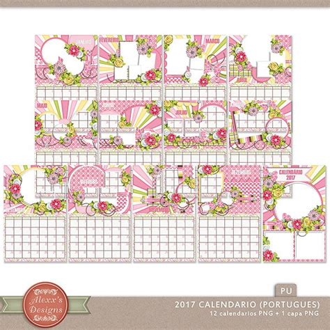 Calendario Digital 2017 Kit Digital Calendario 2017 Alexxs Designs Elo7