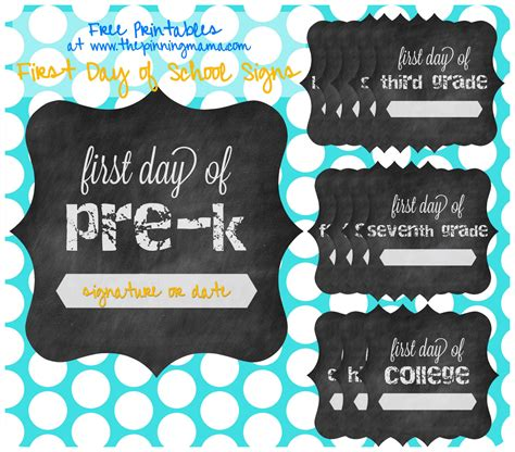 Free Printable First Day Of School Chalkboard Sign The Pinning Mama Day Of School Template