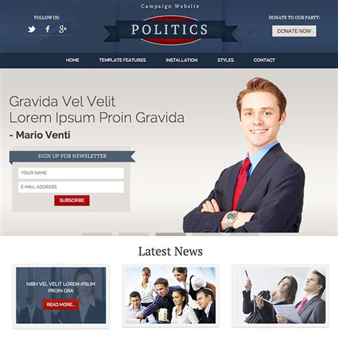 political newsletter template politics responsive joomla template webprojek