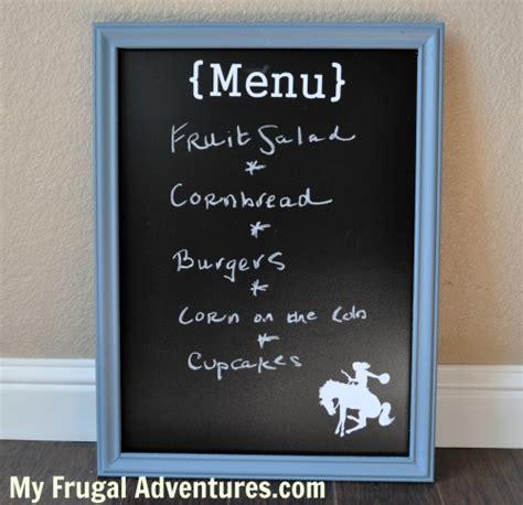 diy chalkboard menu easy diy framed chalkboard my frugal adventures