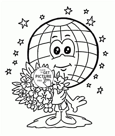 cute earth coloring pages cute globe earth day coloring page for kids coloring