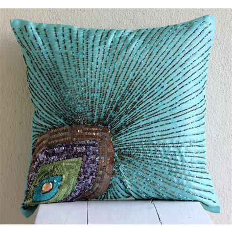 silk peacock home decor aqua blue pillow covers square peacock feather sequins and