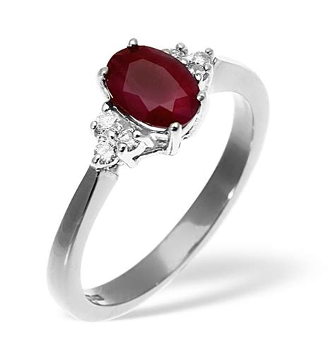 Ruby 5 15ct ruby 1 15ct and 18k white gold ring item n4333y