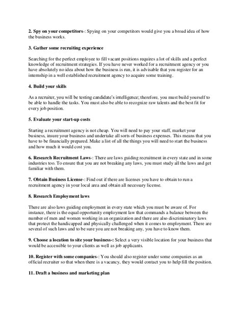 recruitment agency business plan template how to start a recruitment agency from home business ideas