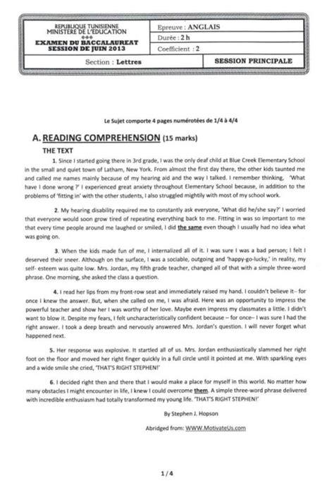 Exemple De Lettre Bac Anglais Tunisie Bac 2013 Tous Les Sujets Des Examens Du Mercredi Directinfo