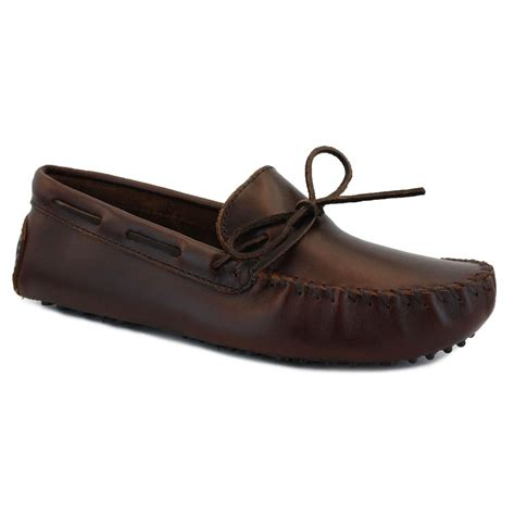 Minnetonka Cowhide Driving Moc Minnetonka Driving Moc Mens Slip On Leather Moccasins Dark
