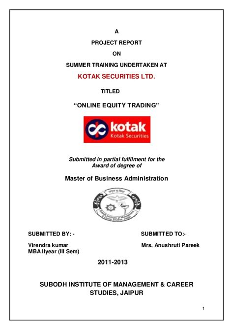 Bank Statement Request Letter Kotak Mahindra Kotak Securities