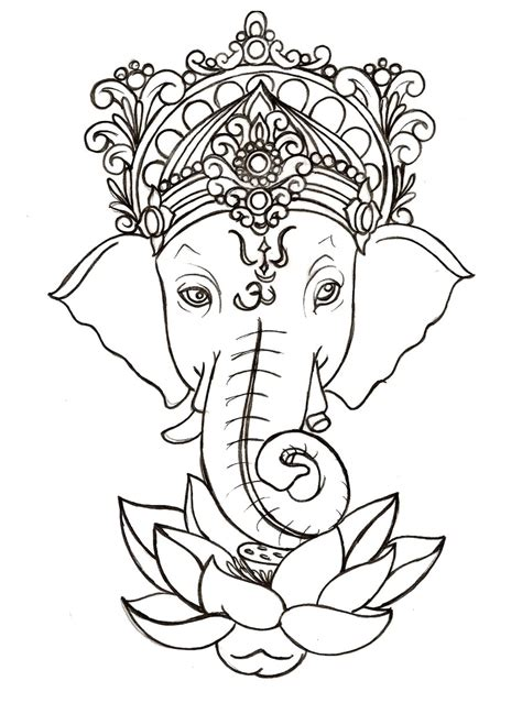 ganesh tattoo template ganesh with lotus tattoo by metacharis on deviantart