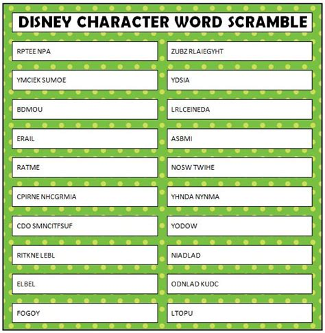 printable word ending games disney word scramble free printable character words