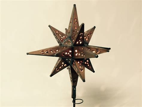 Tin Moravian Star Lighted Tree Topper Copper Finish Lighted Tree Topper