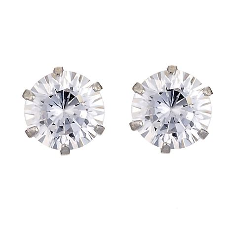 9ct white gold 5mm cubic zirconia stud earrings h samuel