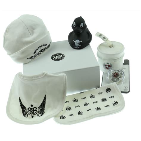 unisex gifts rock star baby baby s white unisex tattoo print gift set