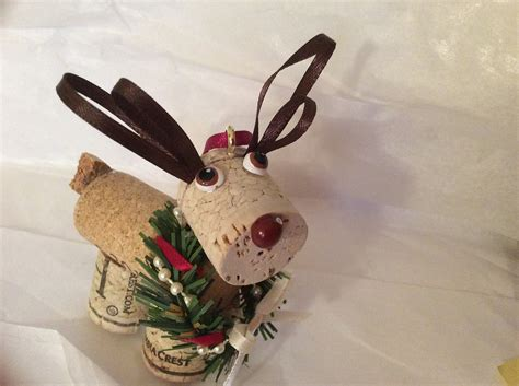 wine cork reindeer holiday christmas ornament maximum