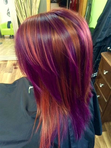 with colorful hair pinwheel color copper and purple colorful