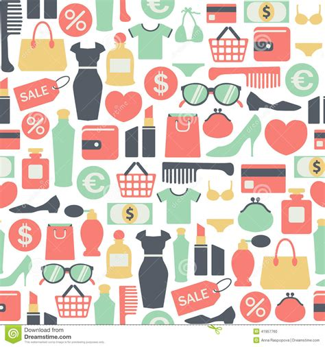 seamless pattern with shopping icons shopping pattern stock vector image 41957760