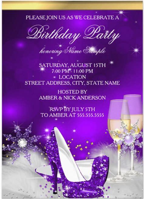 purple princess crown birthday party invitation invitations 4 u