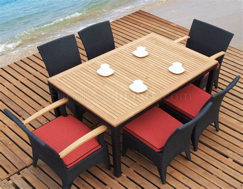 Dark Brown & Natural Teak Finish Modern 7Pc Outdoor Dining Set