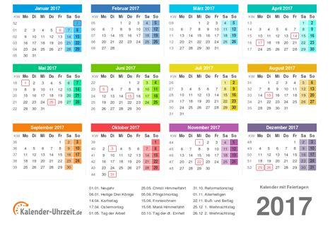 Datum Kalender 2017 Kalender 2017 Mit Feiertagen
