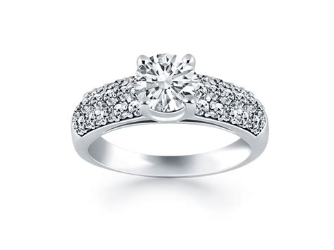 tapered pave wide band engagement ring mounting in