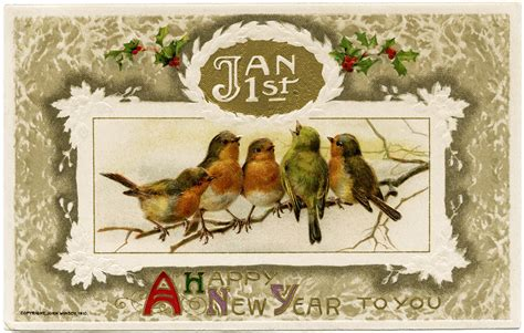 free vintage happy new year greeting cards elves with winsch birds new year postcard design shop