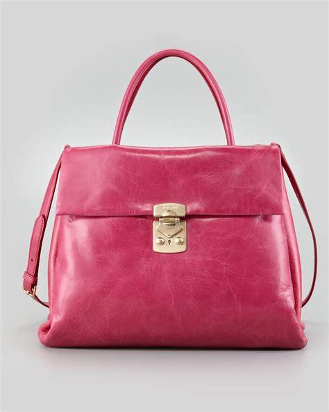 Girly Pink Miu Miu Tote by Miu Miu Vitello Fourpocket Tote Bag Pink In Pink Lyst