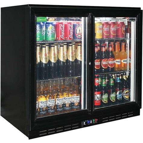 Sliding 2 Glass Door Commercial Back Bar Bar Fridge Energy Home Bar With Fridge
