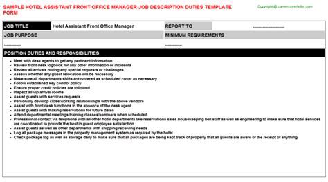 Assistant Front Office Manager by Front Office Specialist Descriptions