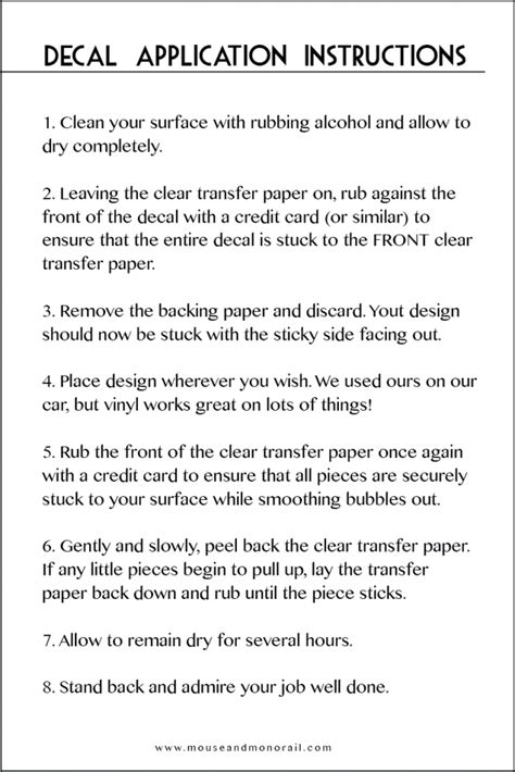 printable vinyl application instructions applying your designs the mouse and the monorail