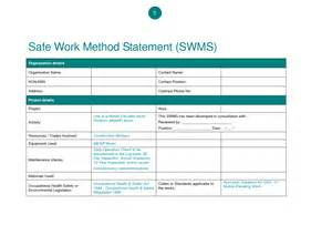 Safe Work Method Statement Template by Safe Work Method Statement Template Wordscrawl