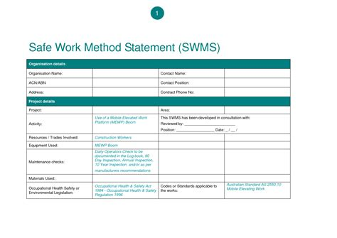 safe work method statements template best template collection