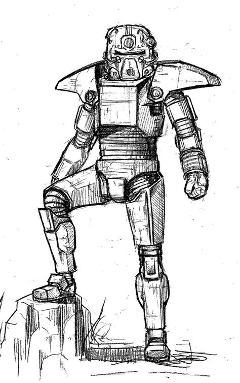 Fallout 4 Sketches by Fallout 4 Power Armor Coloring Pages