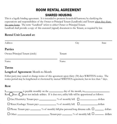 Agreement Letter For Renting A Room rental agreement templates 15 free word pdf documents