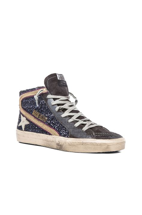 golden goose shoes golden goose deluxe brand slide glitter sneakers in blue