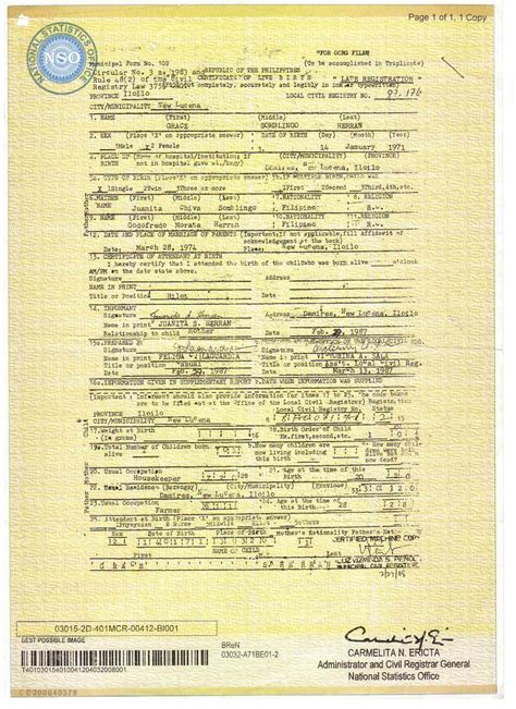 Philippine Birth Records Documents Pictures