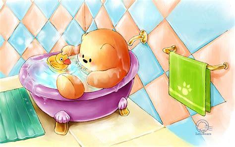windows 7 theme cartoon characters wallpaper huang li bathe with ducky playful cartoon bears wallpapers 2
