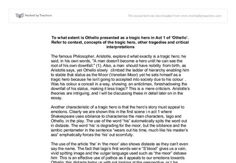 Othello As A Tragic Essay by Othello Tragic Flaw Thesis Persepolisthesis Web Fc2