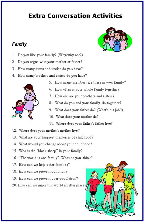 biography questions for family members active english discussion book 1 unit 6