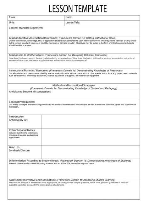 lesson plan template for common free common lesson plan template common aligned