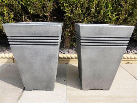set   tall large square grey resin garden planter pot
