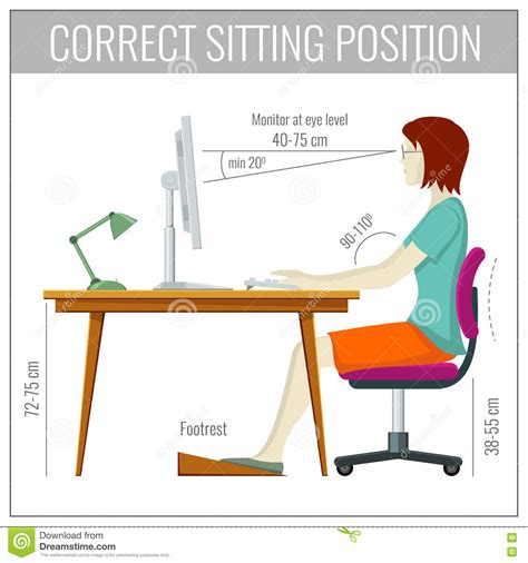 correct spine sitting posture at computer health