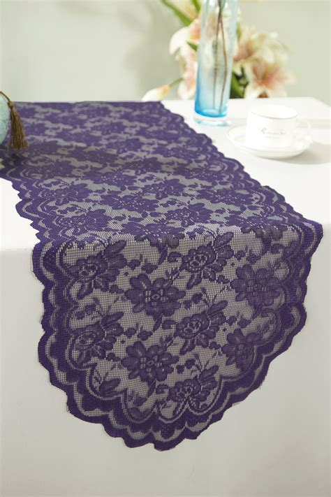 eggplant lace table runners wedding