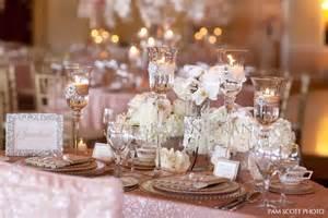 Trumpet Vase Centerpiece Blush And Gold Wedding Inspiration The Merry Bride