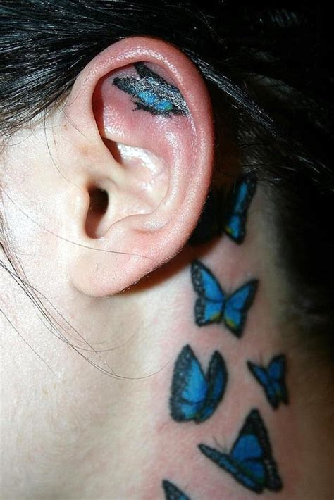 tattoo behind ear butterfly 71 sweet butterfly neck tattoos