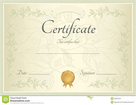 gold medal certificate template certificate diploma background template stock vector