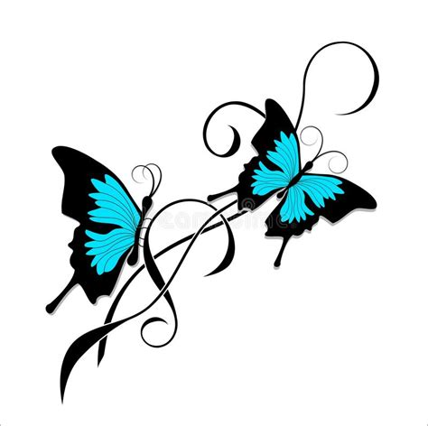 butterfly tattoo black blue tribal stock vector