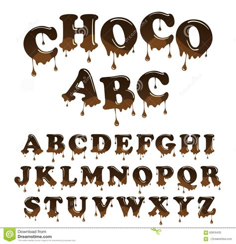 up letter to chocolate vector chocolate letterhead alphabet shiny glazed