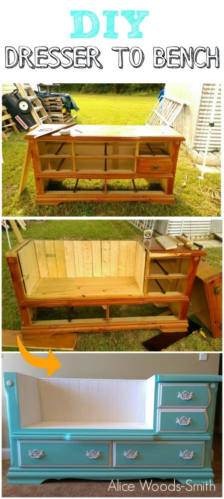 dresser into bench 100 ways to repurpose and reuse broken household items diy crafts