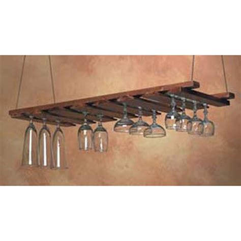 Hanging Bar Glass Rack by American Metalcraft Gr1435 Bar Glass Rack Glass Hanger Walnut Chain For Ceiling Mount