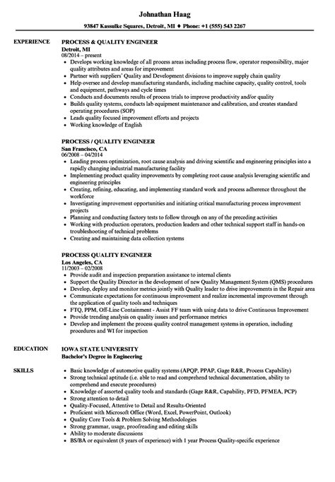 Quality Engineer Resume by Process Quality Engineer Resume Sles Velvet