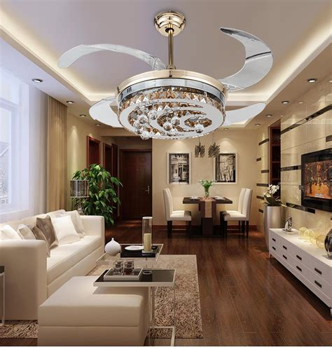 living room ceiling fans with lights modern stealth crystal ceiling fan lights led fashion